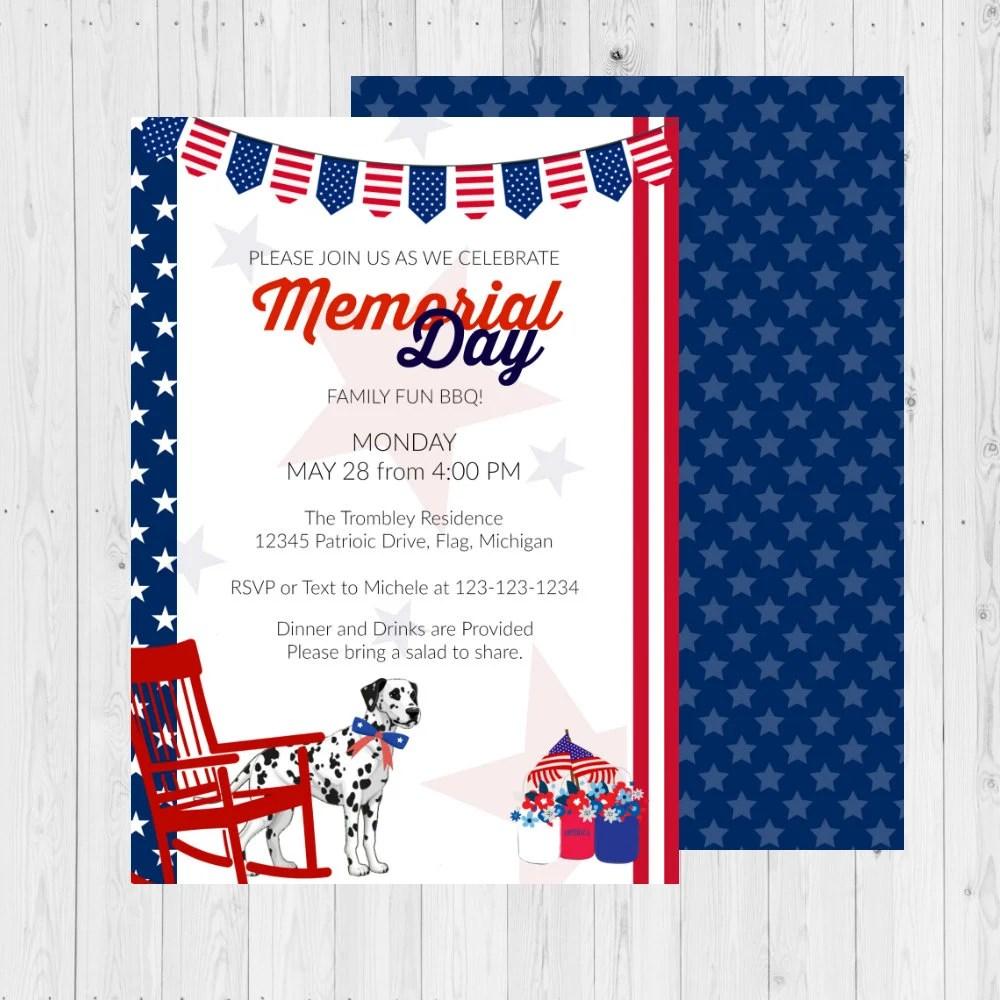 Memorial Day Invitation / Memorial Day Invite / Fourth of July
