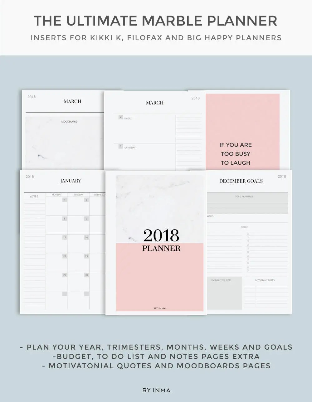 Marble planner 2018 2018 Planner Printable Monthly Planner Etsy