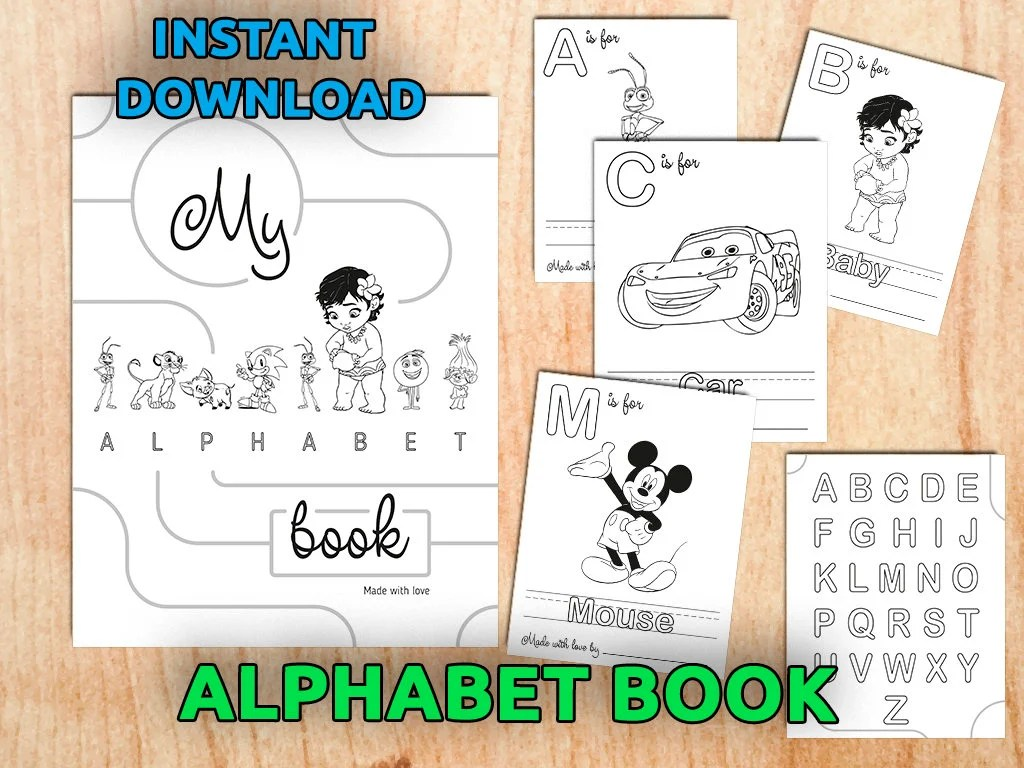 Alphabet Coloring Pages Baby\u0027s First Alphabet Book Etsy