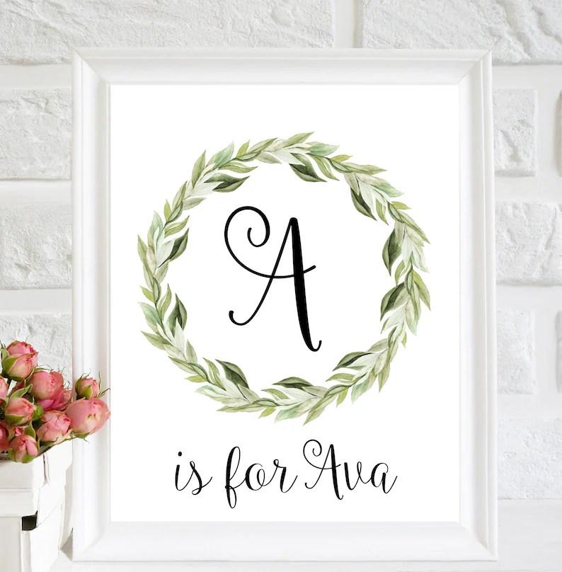 A letter art Custom Name signs for Nursery Ava name print Etsy