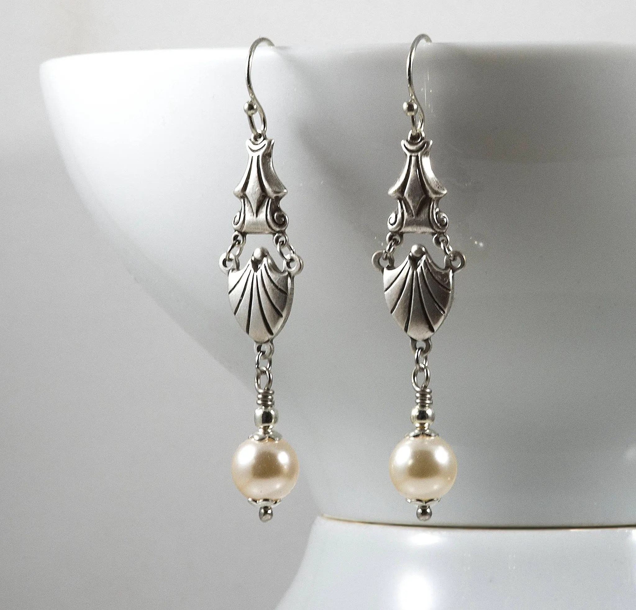 Art Deco Style Earrings Uk Art Deco Style Earrings Swarovski Pearls Sterling Silver Plated Connector Edwardian Earrings 1920s Downton Abbey Handmade Uk Gifts