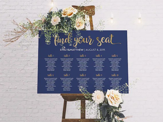 Seating Chart Wedding Wedding seating chart template Etsy