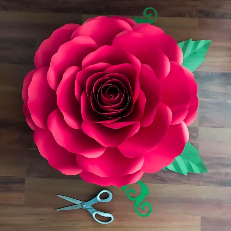PDF A4 XL Rose Paper Flower Templates w/ Rose Bub Center Etsy