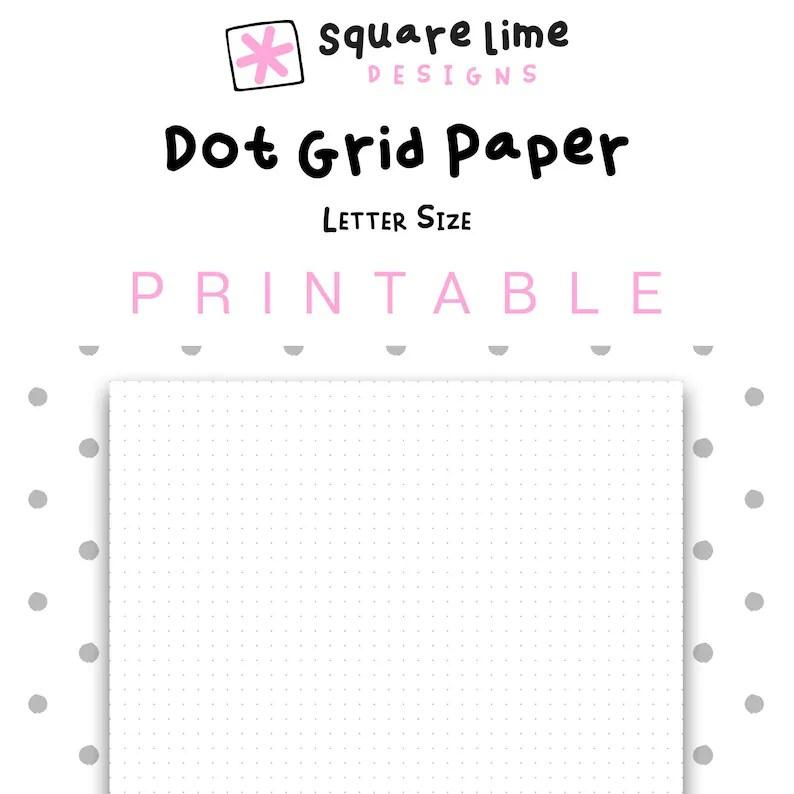Printable Dot Grid Paper Letter Size Dotted Paper Bullet Etsy