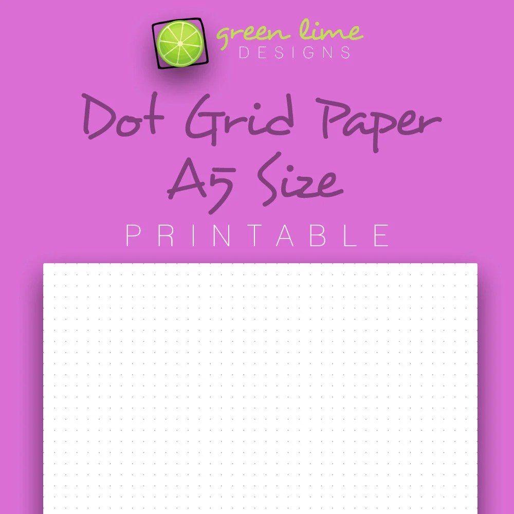 Printable Dot Grid Paper A5 Size Dotted Paper Bullet - printable dot grid paper