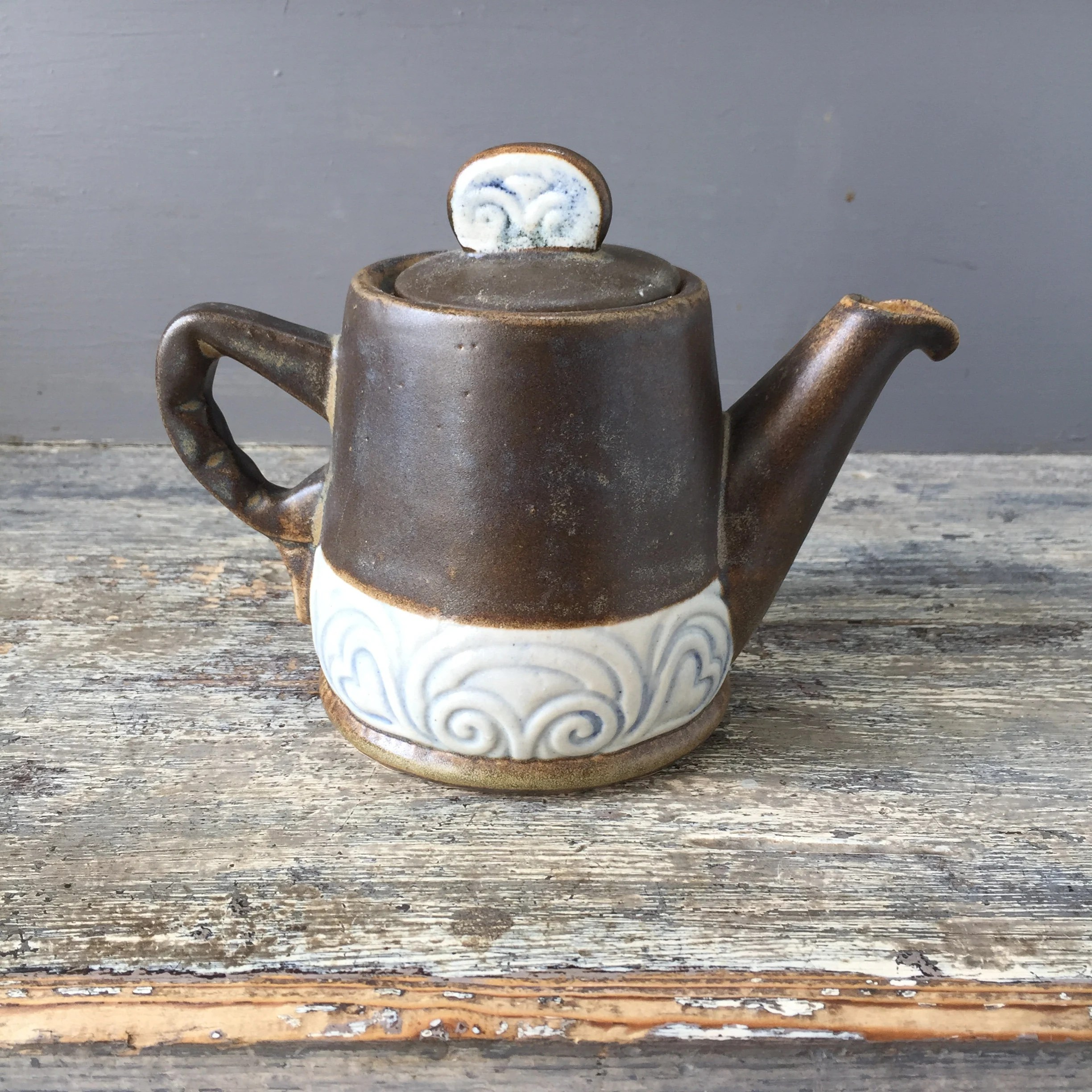 Deco Quimper Rare Beautiful French Vintage Coffee Tea Pot Signed Hb From Brittany France Stoneware With Art Deco Celtic Decor Faience De Quimper 1940 S