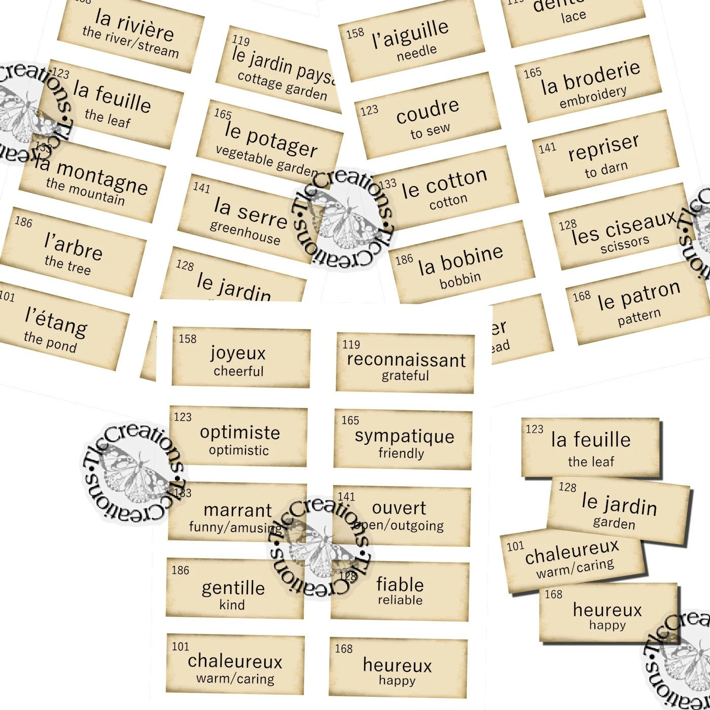 Printable Vintage French Vocabulary Cards Junk Journal Etsy