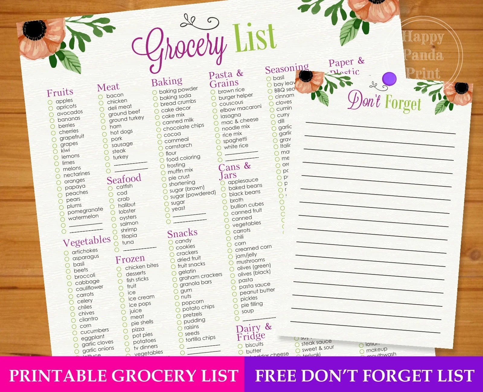 Master Grocery List Checkmark Printable Grocery Shopping List Etsy