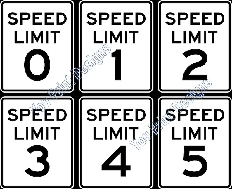 Printable Speed Limit Signs Party Decorations Scrapbooking Etsy