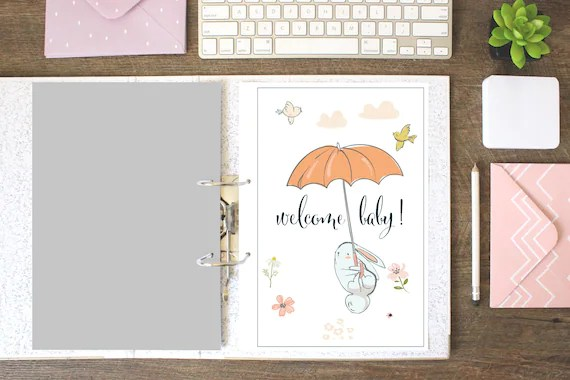 Welcome Baby Memory Book, Printable, Baby Shower Gift, Baby Journal