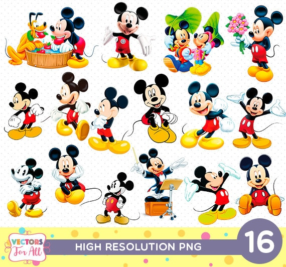 Mickey Mouse CutOut Printable Disney Mickey Mouse PNG Files Etsy