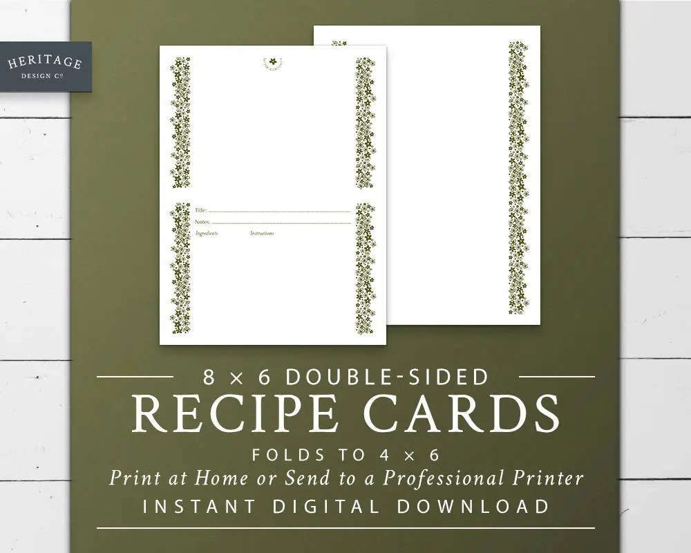 Recipe Card Printable Double Sided 8 x 6 to 4 x 6 Folded Front Etsy