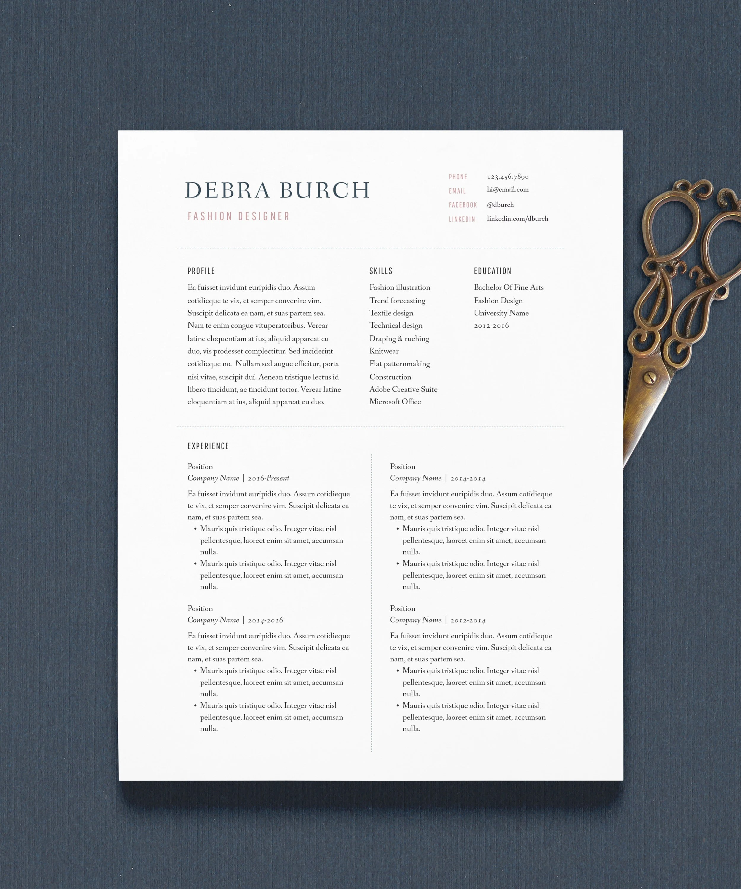 Resume Template Creative Resume Cover Letter 1 Page Etsy