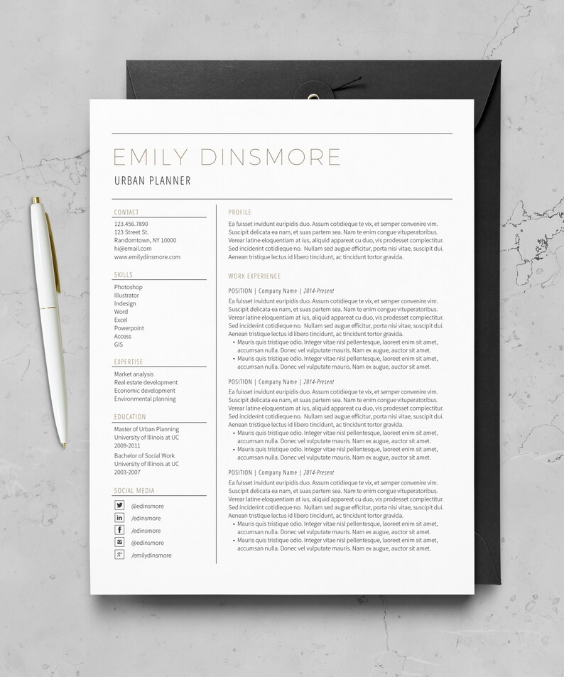 Resume Template Minimal Resume Cover Letter 1 Page Etsy