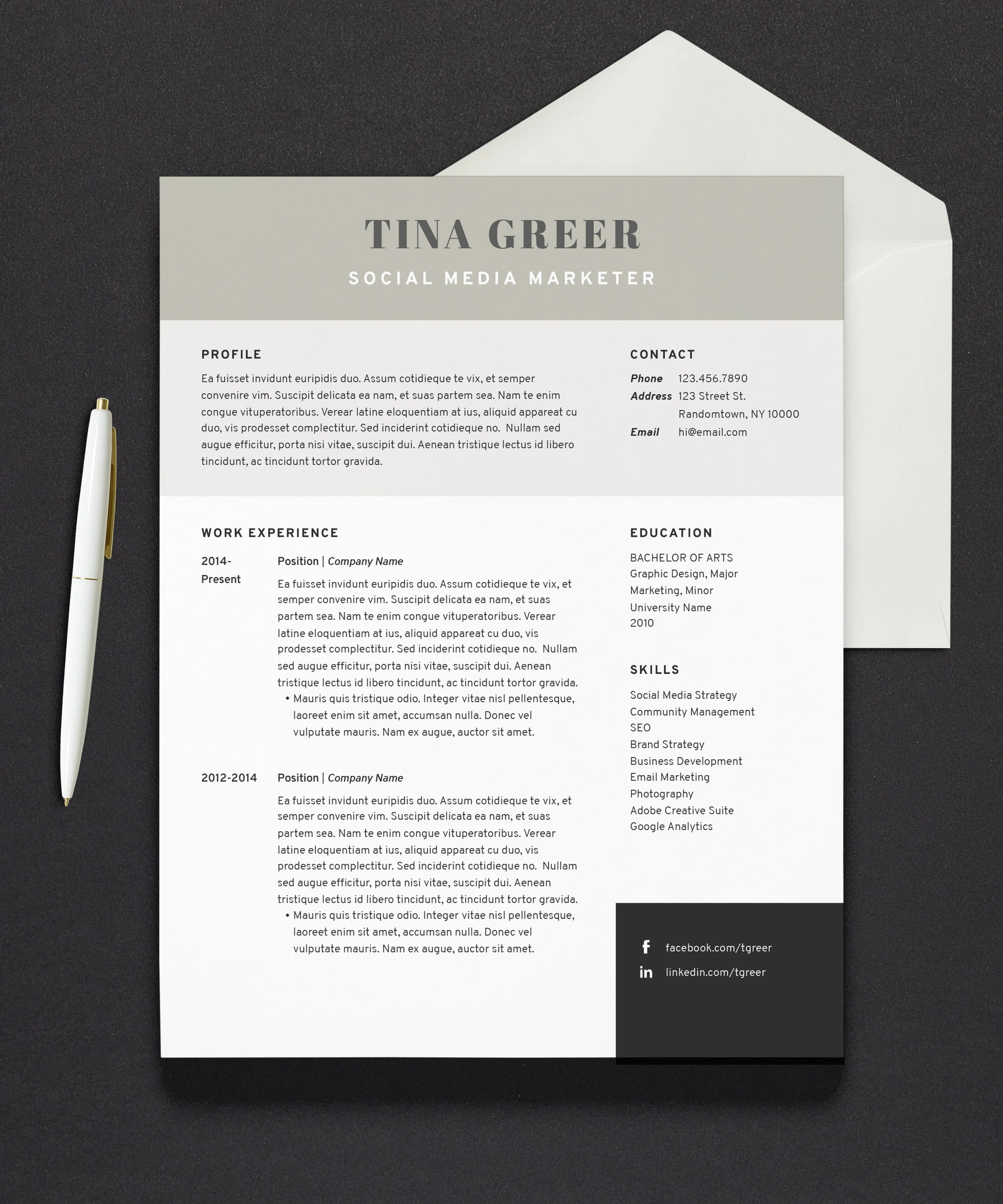 Resume Template Modern Resume Cover Letter 1 Page Etsy