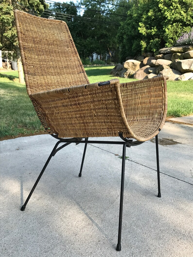 Unique Lounge Chair Mid Century Unique Danny Ho Fong Iron And Rattan Lounge Chair