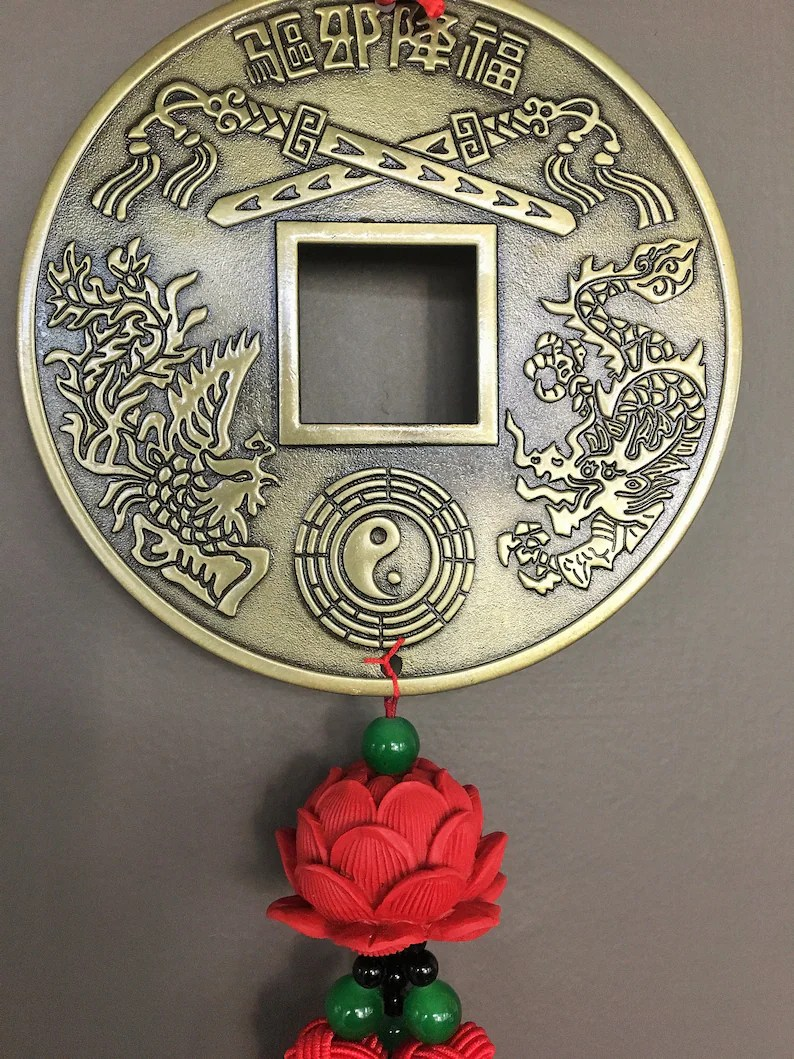 Feng Shui Artikel Feng Shui Coin For Wealth Money Amulet Wealth Amulet Feng Shui Decor Chinese Coin Feng Shui Coins Chinese Decor Red Lotus Lotus Flower