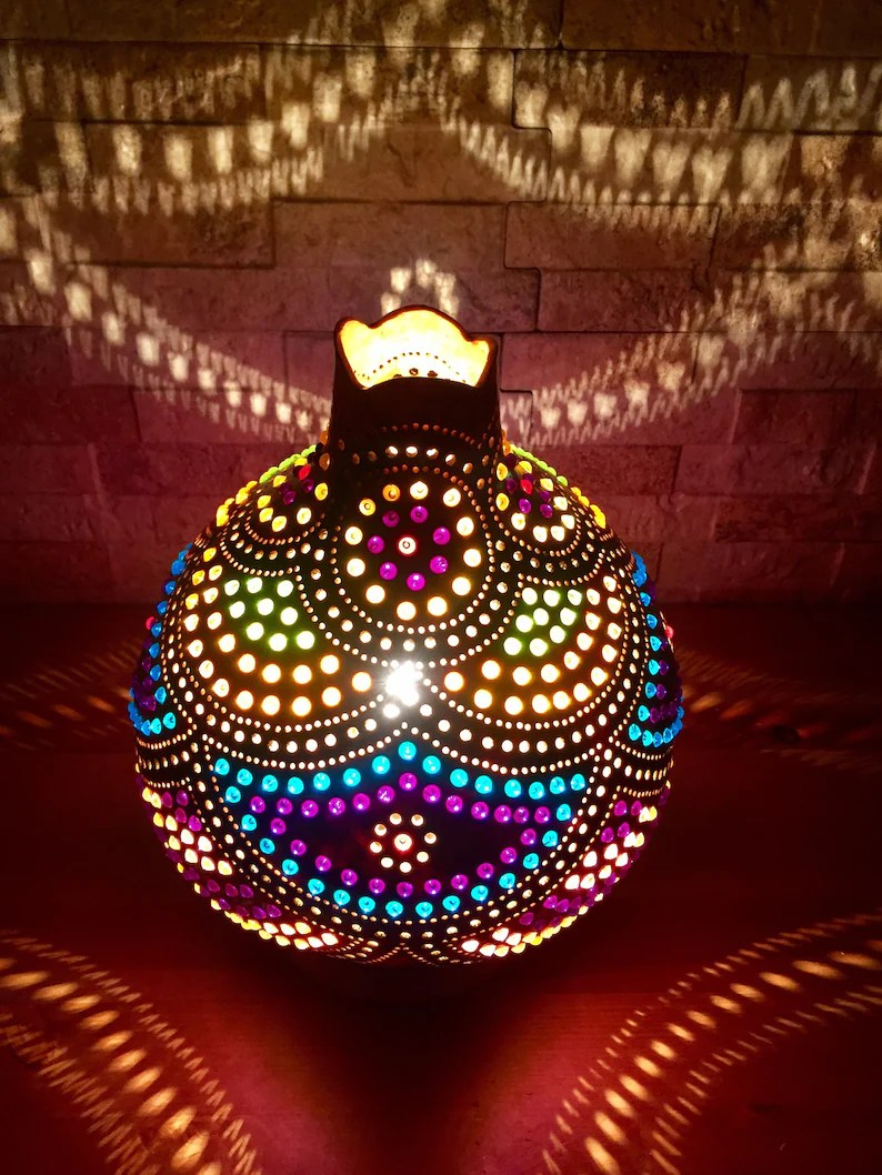 Decor Oriental Chic Multicolored Oriental Design Colorful Middle Eastern Lighting Decor Vintage Style Authentic Turkish Gourd Lamp Shade Moroccan Boho Decor