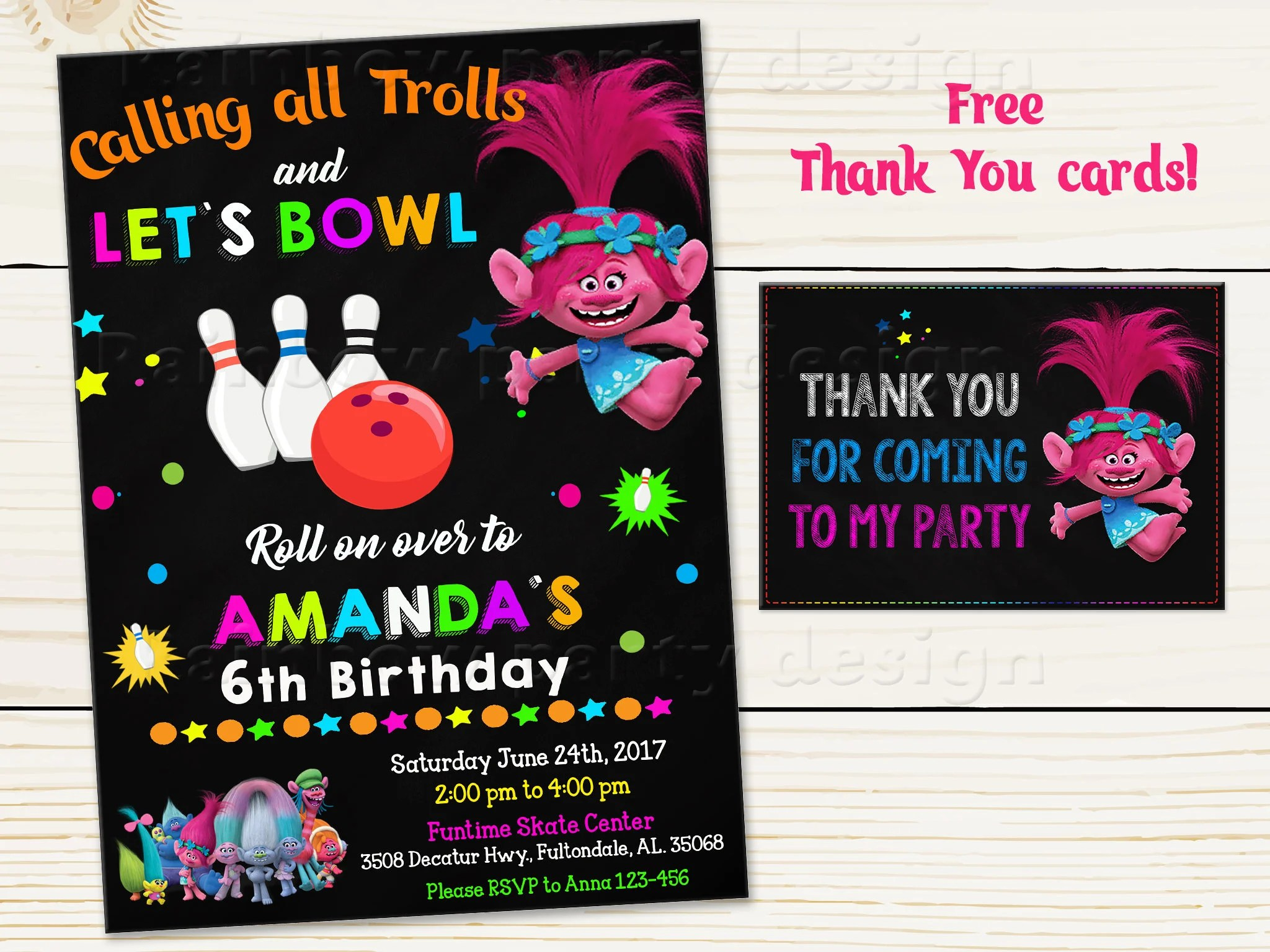 Trolls bowling invitation Bowling Birthday invitation Trolls Etsy