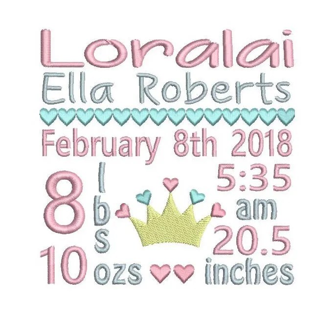 Birth Announcement TEMPLATE Embroidery Subway Art Design Etsy
