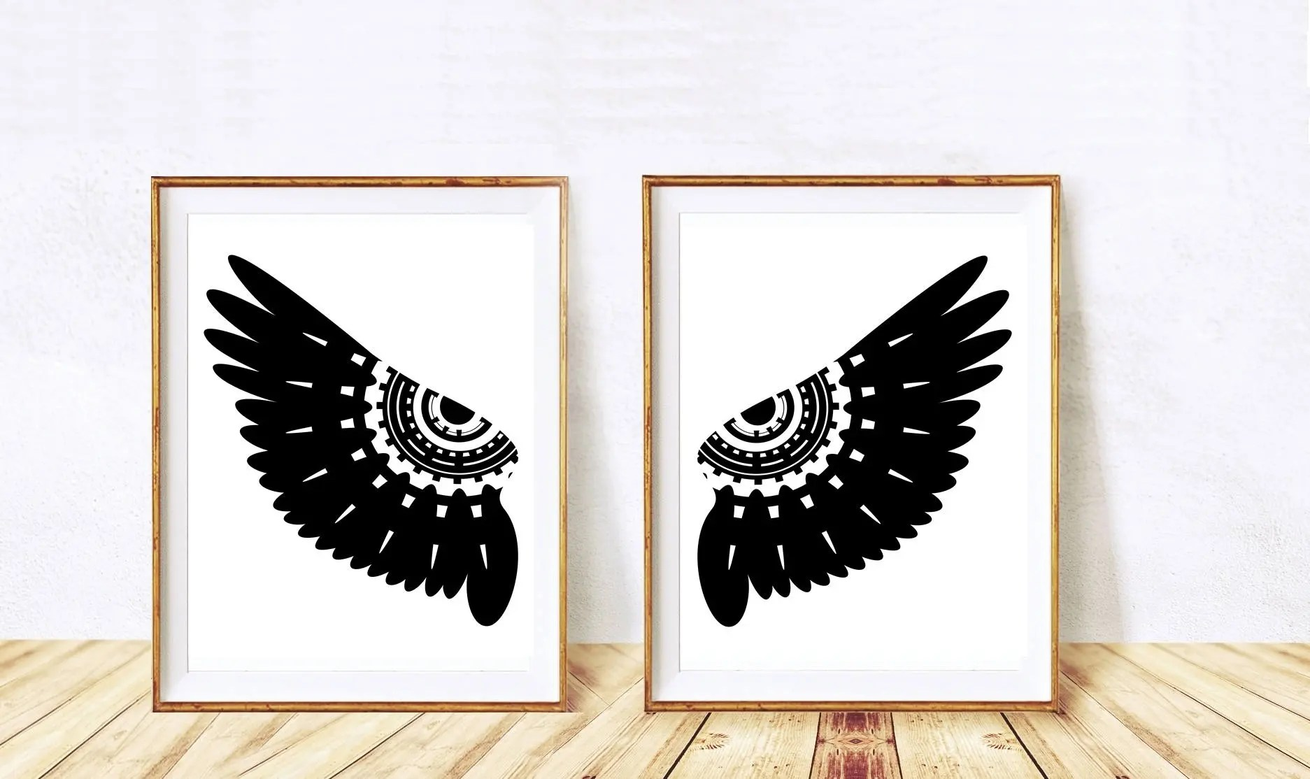 Angel Wings Wall Decor Printable Poster Black And White Owl Etsy