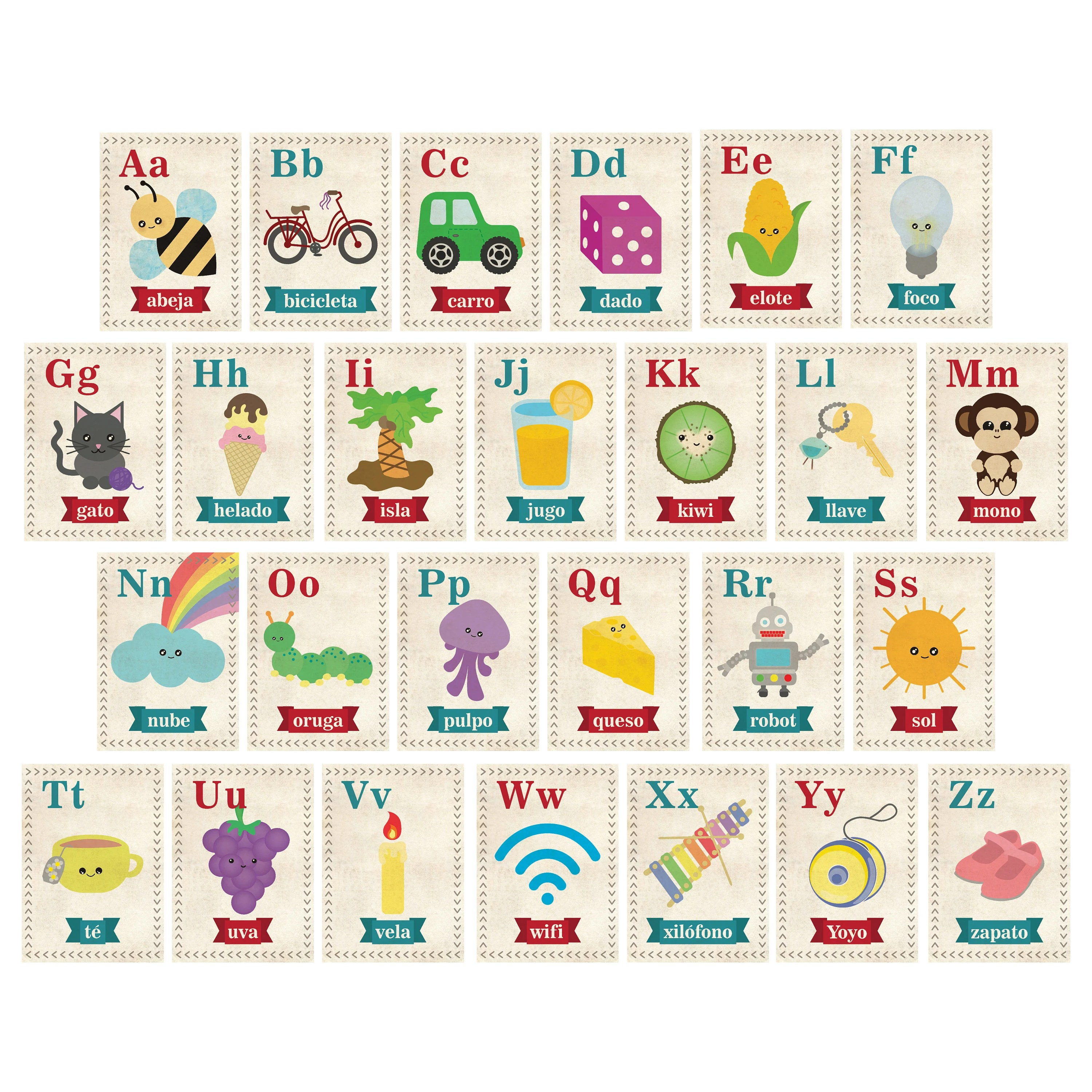 Abc wall art Alphabet flash card Spanish Alphabet Spanish - alphabet in spanish