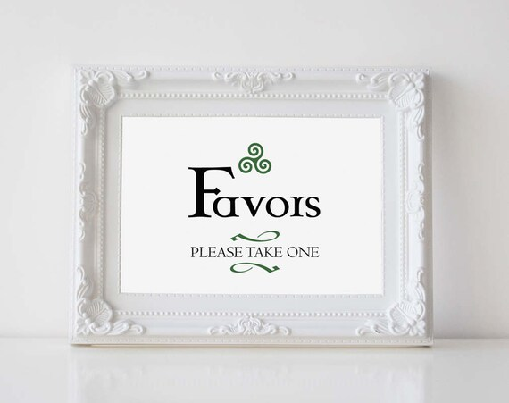 Celtic Wedding Favor Sign Please Take One Sign Irish Etsy