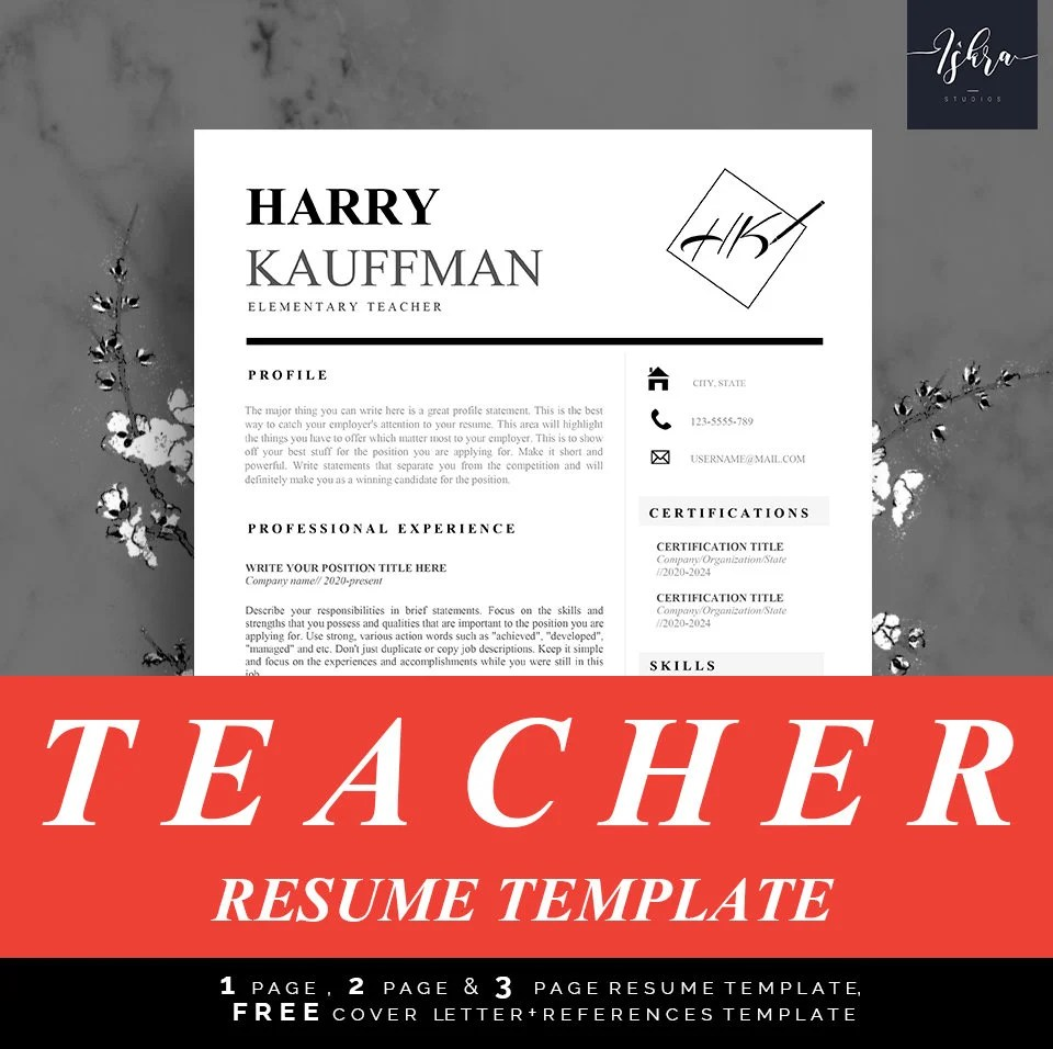 Professional Resume Template Resume templates Teacher Etsy