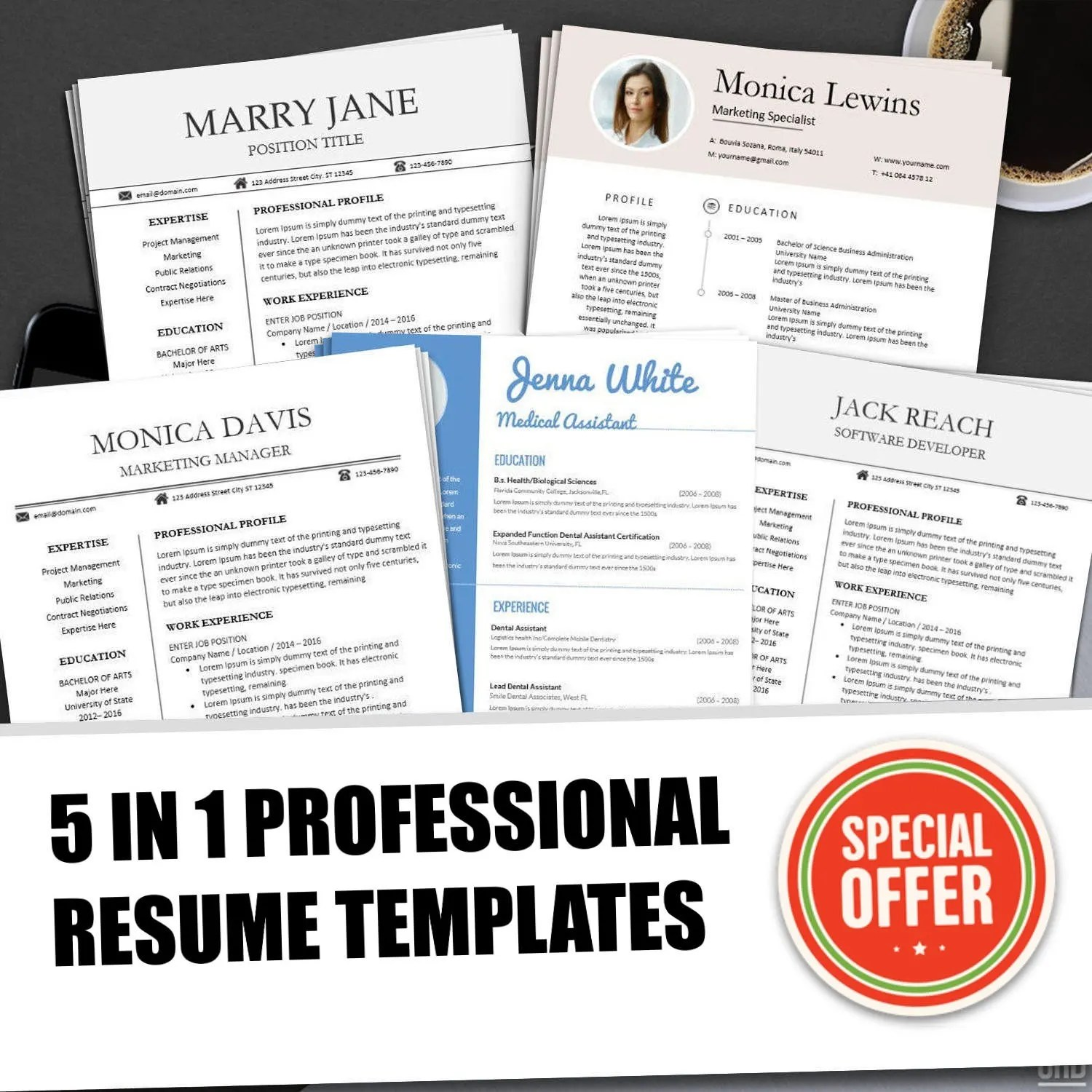Resume Templates BUNDLE for Ms Word Professional Resume Etsy