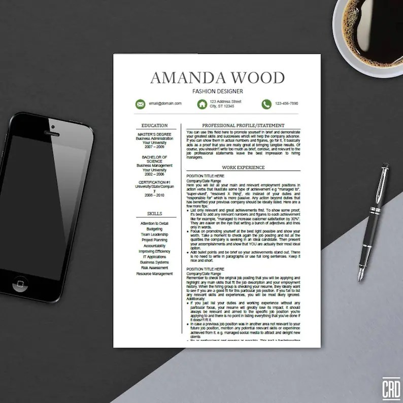 CV Template for Microsoft Word Minimal Resume Design Etsy
