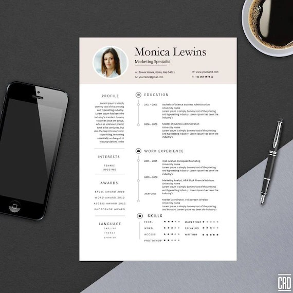 Clean Professional Resume Template for MS Word Modern Resume Etsy