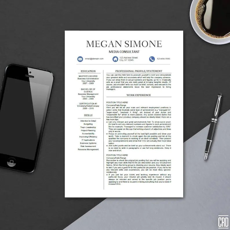 Modern Resume Template for MS Word Professional CV Design Etsy