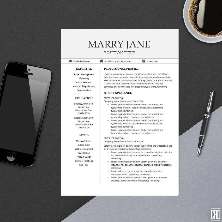 Camera Exterieur Home By Sfr Modern Professional Resume Template For Ms Word Minimal Resume Design Cv Template Example Design Instant Download Easter Marry