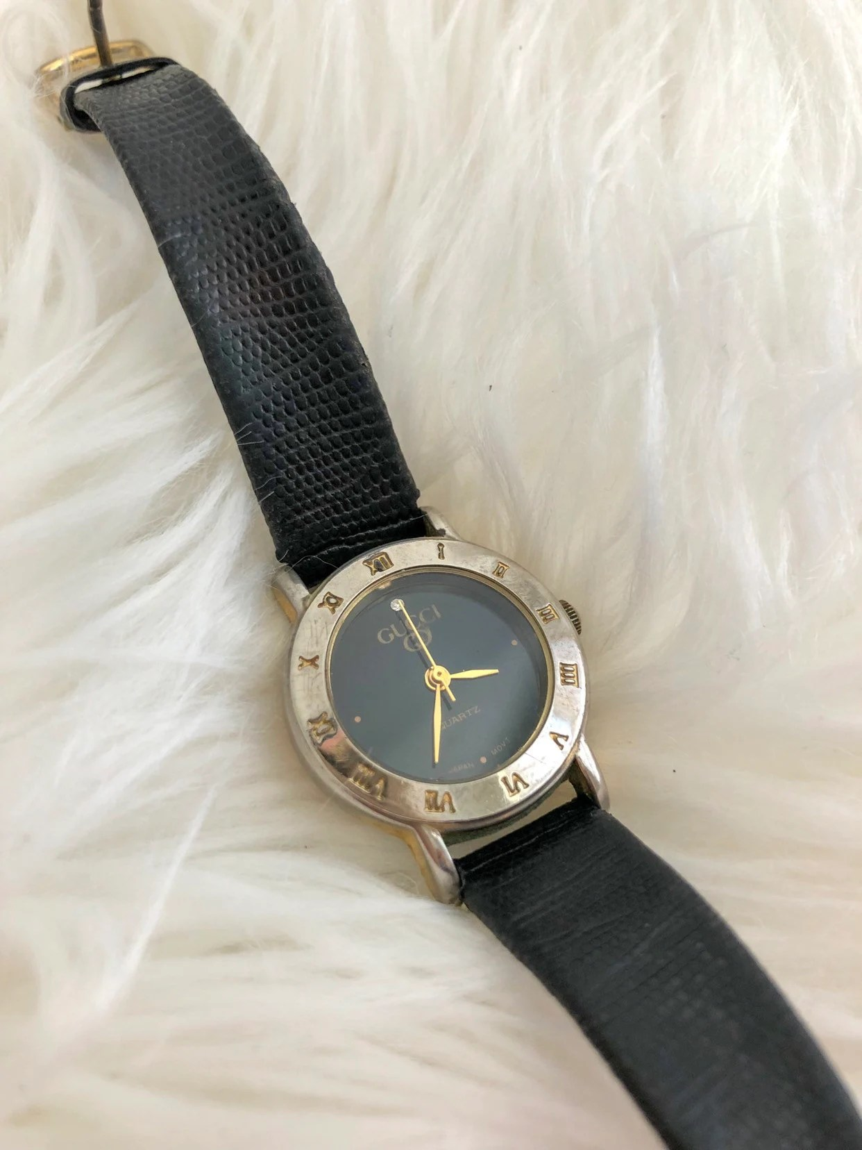 Etsy Vintage Gucci Vintage Gucci Two Tone Black Leather Watch