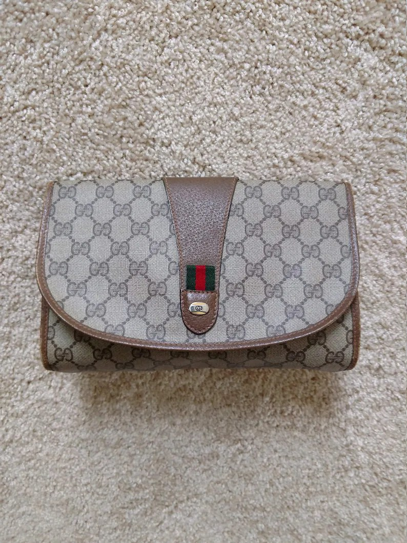 Etsy Vintage Gucci Brown Beige Small Vintage Gucci Clutch Monogram Logo Handbag Cosmetic Makeup Bag