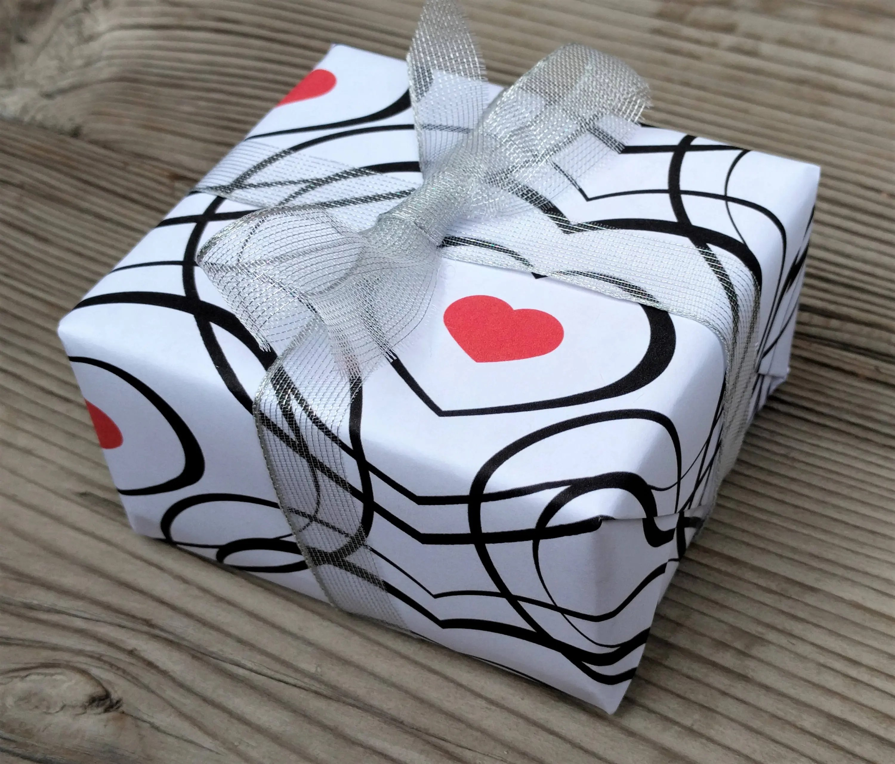 Printable Heart Gift Wrap Small Red Hearts with Black Heart Etsy