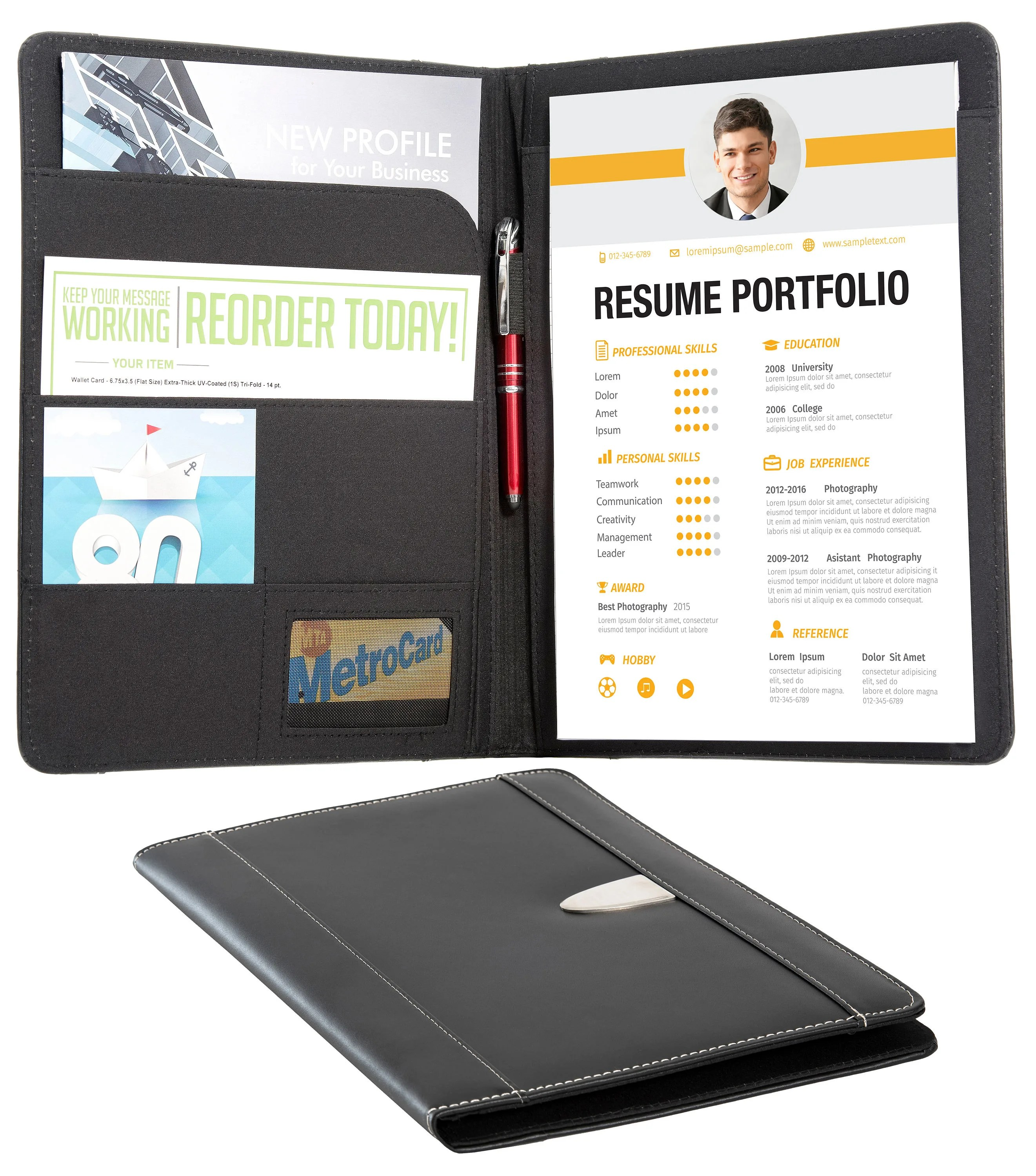 Resume Portfolio Padfolio Genuine Bonded Leather Portfolio Etsy