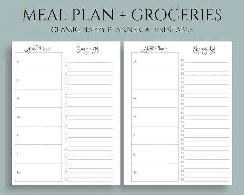Weekly Meal Planning and Grocery Shopping List Printable Etsy