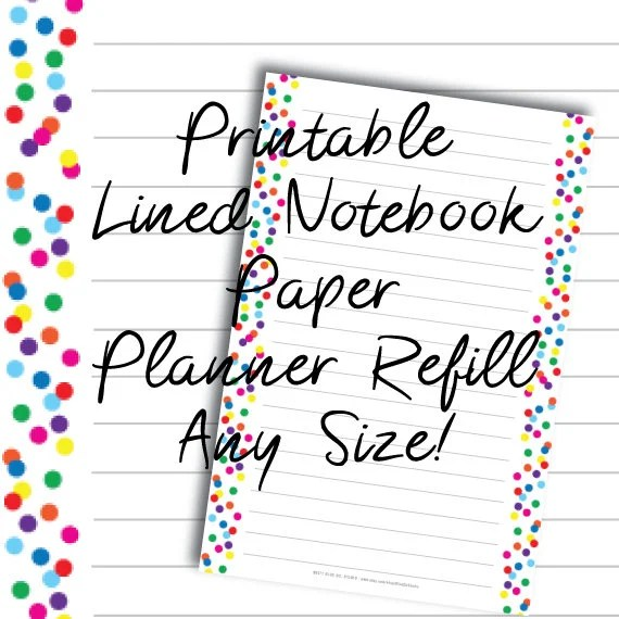 Printable Lined Notebook Paper Planner Refill Any Size