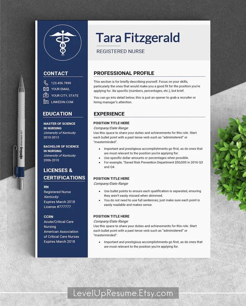 Medical resume template CV template medical cv Doctor cv Etsy