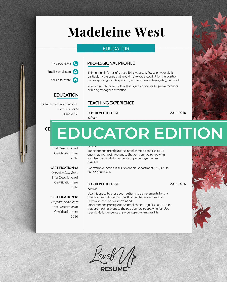Educator resume template Teacher cv template Principal resume Etsy