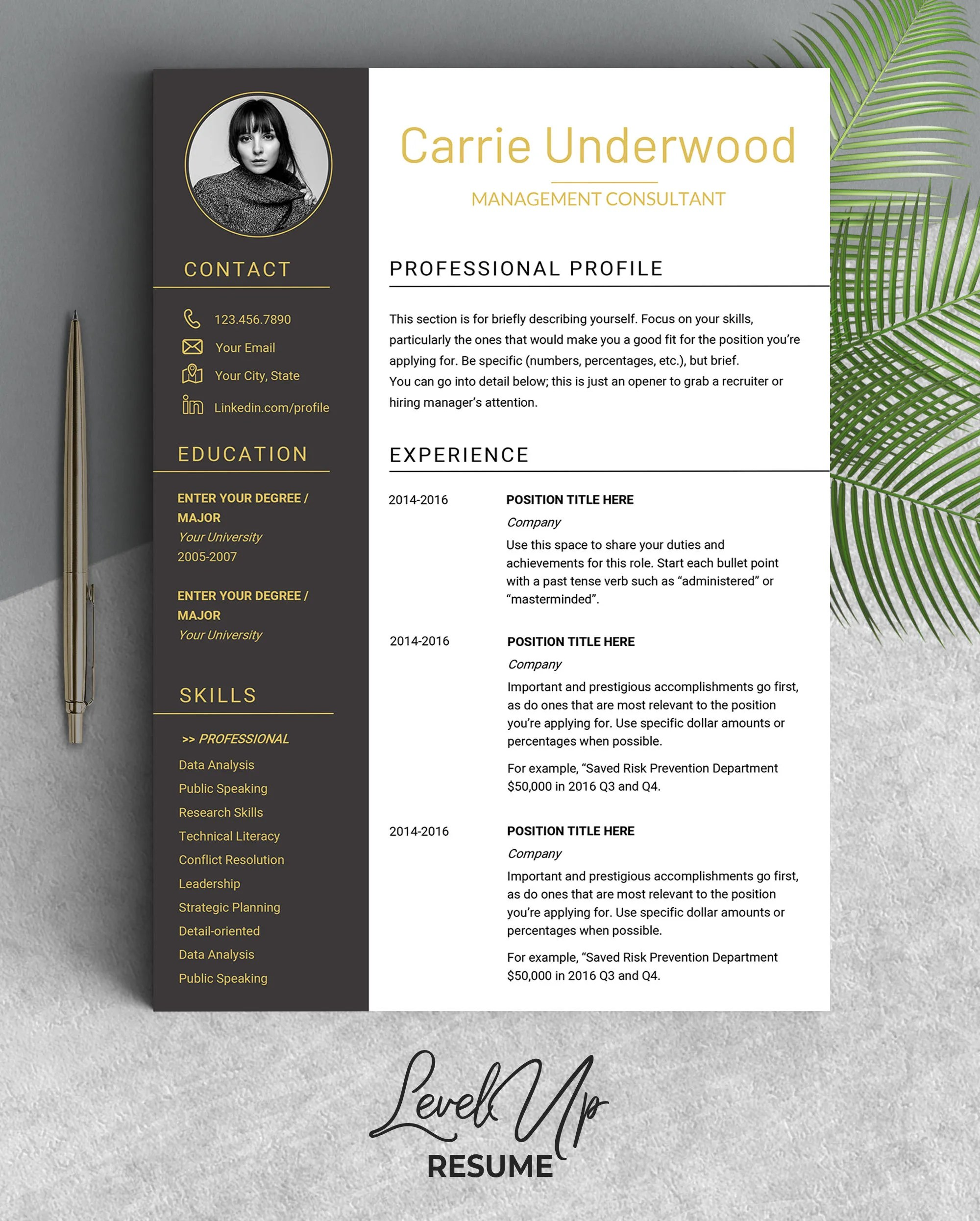 Resume template Modern resume with photo Design resume Etsy
