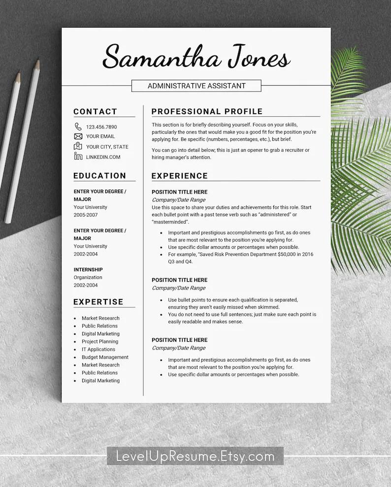Design resume template Professional resume templates Modern Etsy