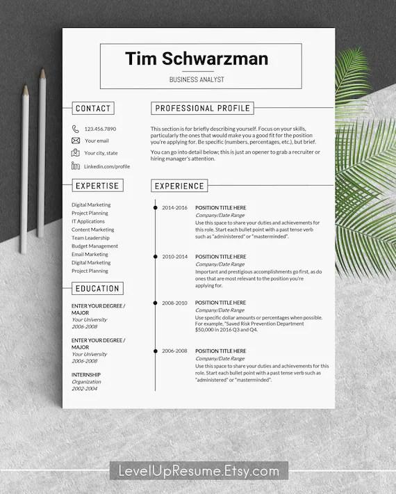 Resume template Modern resume templates Creative resume Etsy