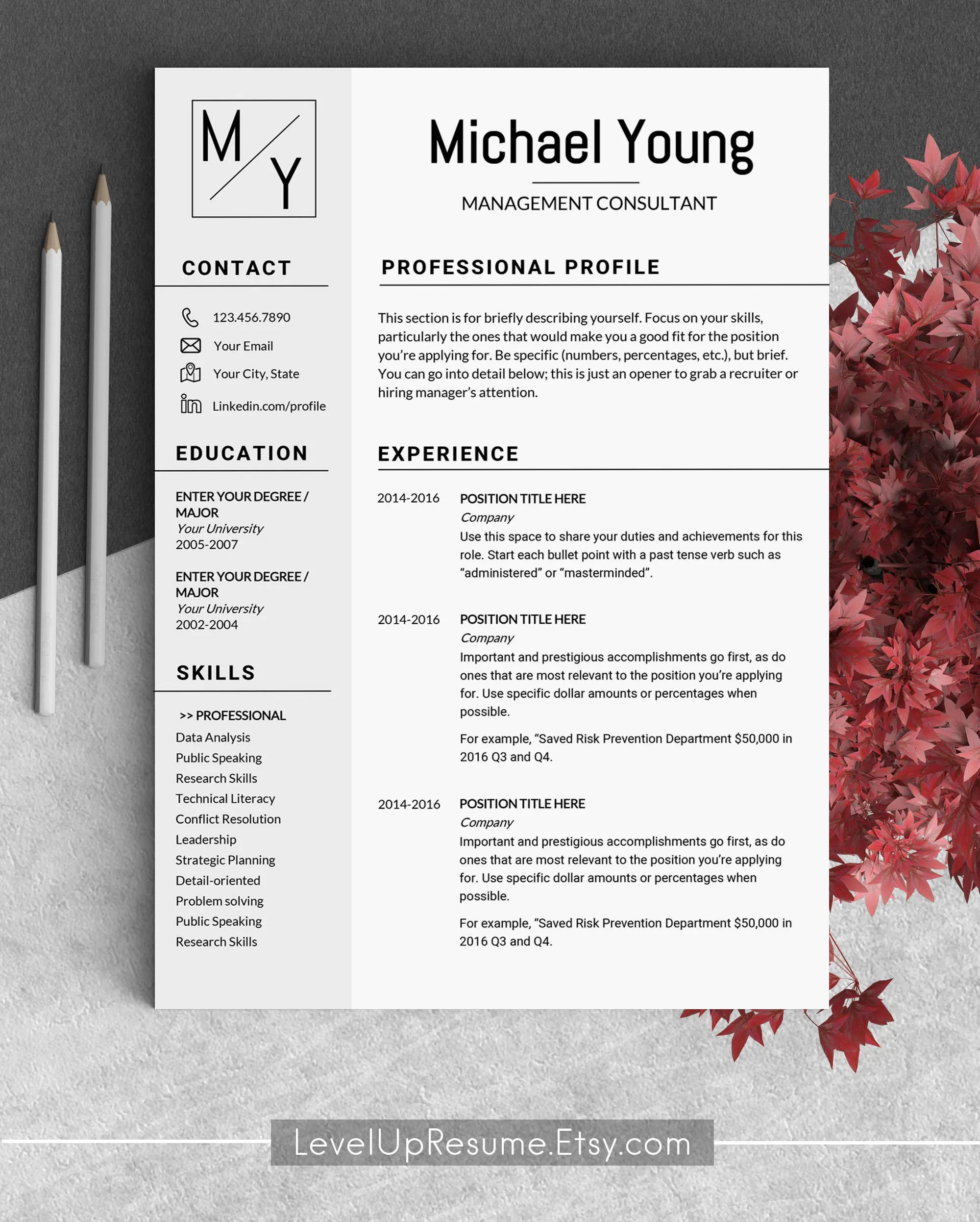 Resume template instant download Cv template Marketing resume Etsy