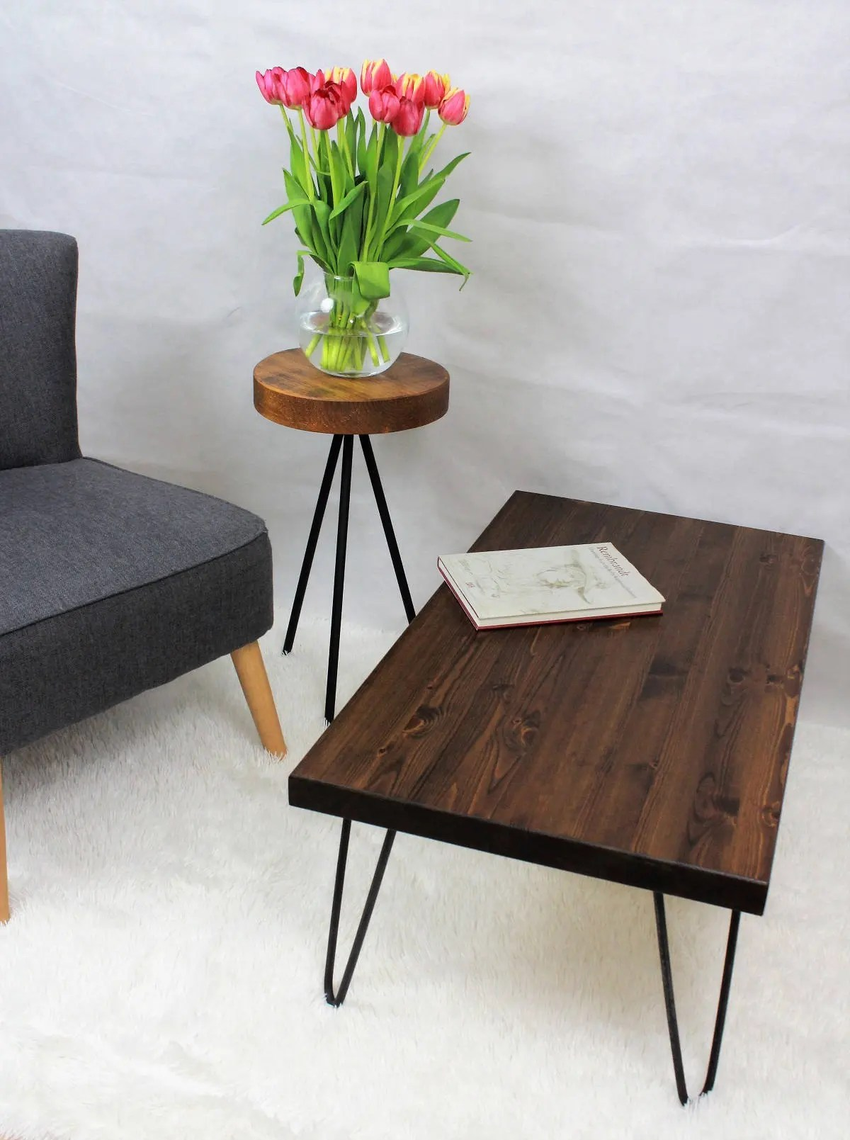 The Wood Times Couchtisch Rustic Vintage Industrial Wooden Coffee Table With Metal Hairpin Legs