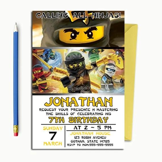 Ninjago Invitation Ninjago birthday Ninjago Birthday Etsy