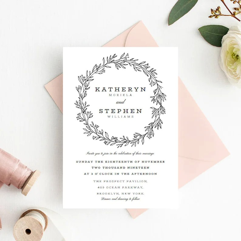Floral Wreath Wedding Invitation Template Download Printable Etsy