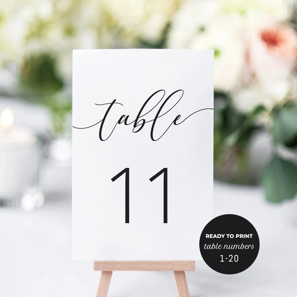Table Number Cards Printable Table Numbers 1-20 Wedding Etsy