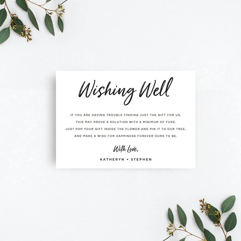 Printable Wishing Well Card Rustic Wishing Well Card Etsy